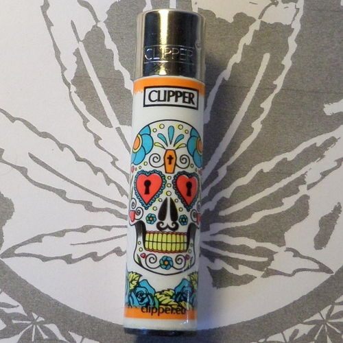 "Clipper Feuerzeug ""Sugar Skull"" (Orange)"