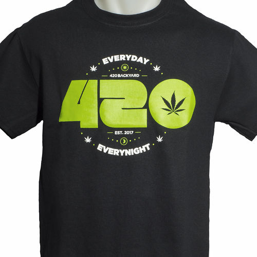 420backyard T-Shirt 420 Everyday schwarz L + GRATIS Poptop-Behälter