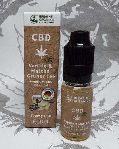 'Breathe Organics' active CBD E-Liquid Vanille & Matcha 300mg