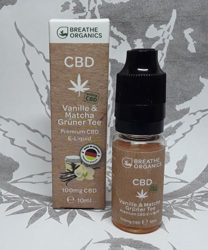 'Breathe Organics' active CBD E-Liquid Vanille & Matcha 100mg