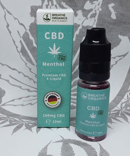 'Breathe Organics' active CBD E-Liquid Menthol 100mg
