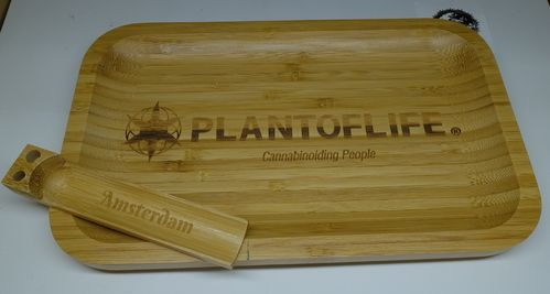 Plant of Life Bamboo Rolling Tray Large