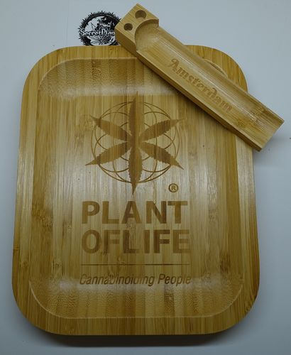 Plant of Life Bamboo Rolling Tray Small